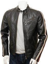 Men's Black Biker Leather Jacket: Combrew
