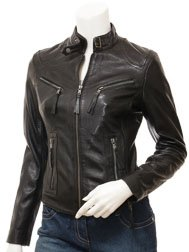 Women's Black Biker Leather Jacket: Corinth