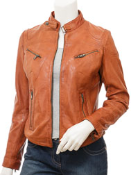 Women's Tan Biker Leather Jacket: Corinth