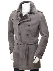 Men's Grey Shearling Coat: Coryton