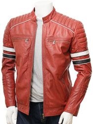 Men's Red Leather Biker Jacket: Croyde