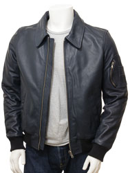 Men's Blue Bomber Leather Jacket: Culmstock