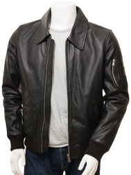 Men's Black Bomber Leather Jacket: Culmstock