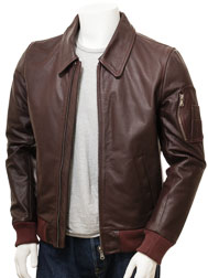 Men's Oxblood Bomber Leather Jacket: Culmstock