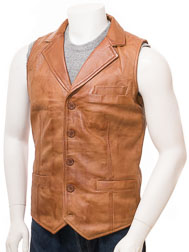 Men's Tan Leather Waistcoat: Digby