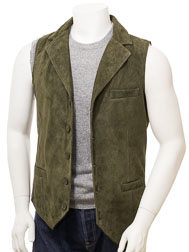 Men's Olive Suede Waistcoat: Digby