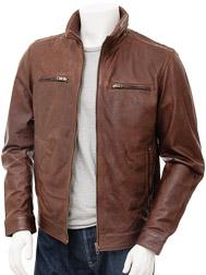 Mens Brown Biker Leather Jacket: Groningen