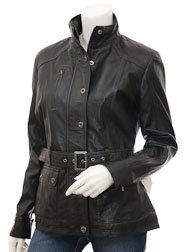 Womens Black Leather Jacket: Hartford