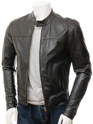 Men's Black Biker Leather Jacket: Oldenburg