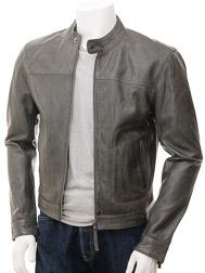 Mens Grey Biker Leather Jacket: Oldenburg
