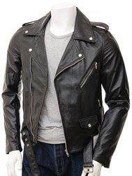 Mens Black Biker Leather Jacket: Shores