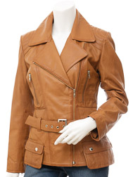 Women's Tan Biker Leather Jacket: Simi