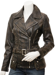 Women's Vintage Biker Leather Jacket: Simi