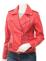 Ladies Red Biker Leather Jacket: Toronto
