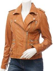 Ladies Tan Biker Leather Jacket: Toronto