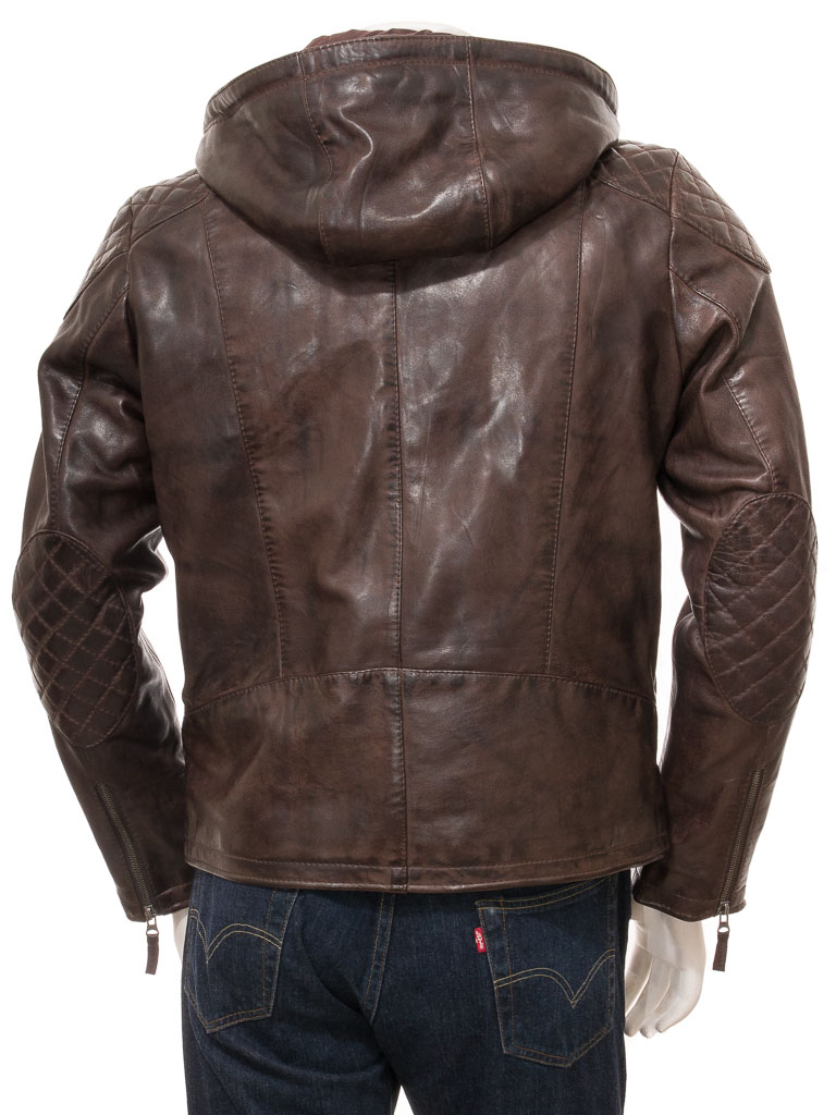 62f26b9f Men's Brown Leather Hoodie Jacket: Anstey