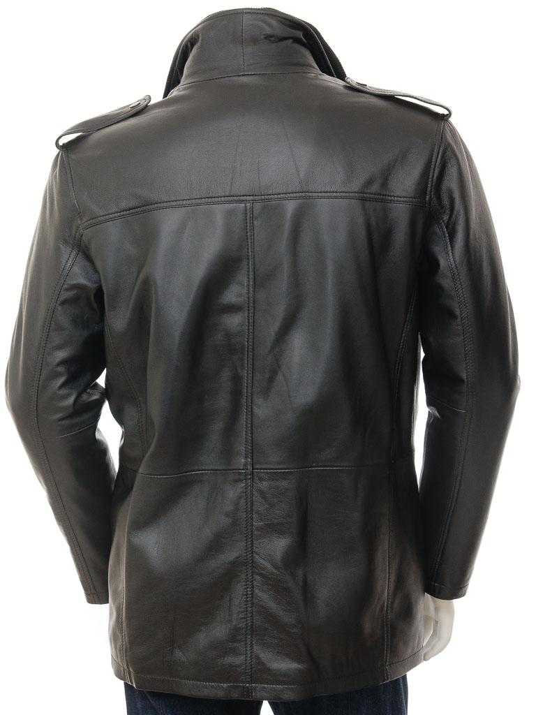 71850e03f430 Mens Leather Coat in Black  Avonwick    MEN    Caine