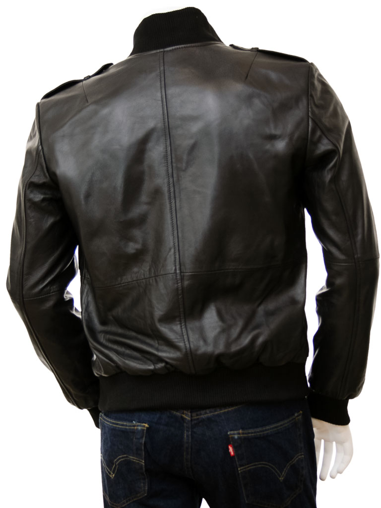 Men S Black Leather Bomber Jacket Belgrade