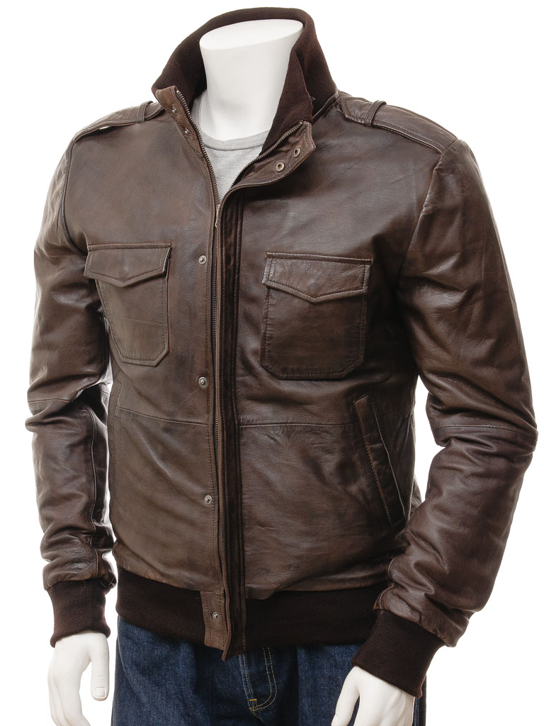 Men's Black Leather Bomber Jacket: Belgrade
