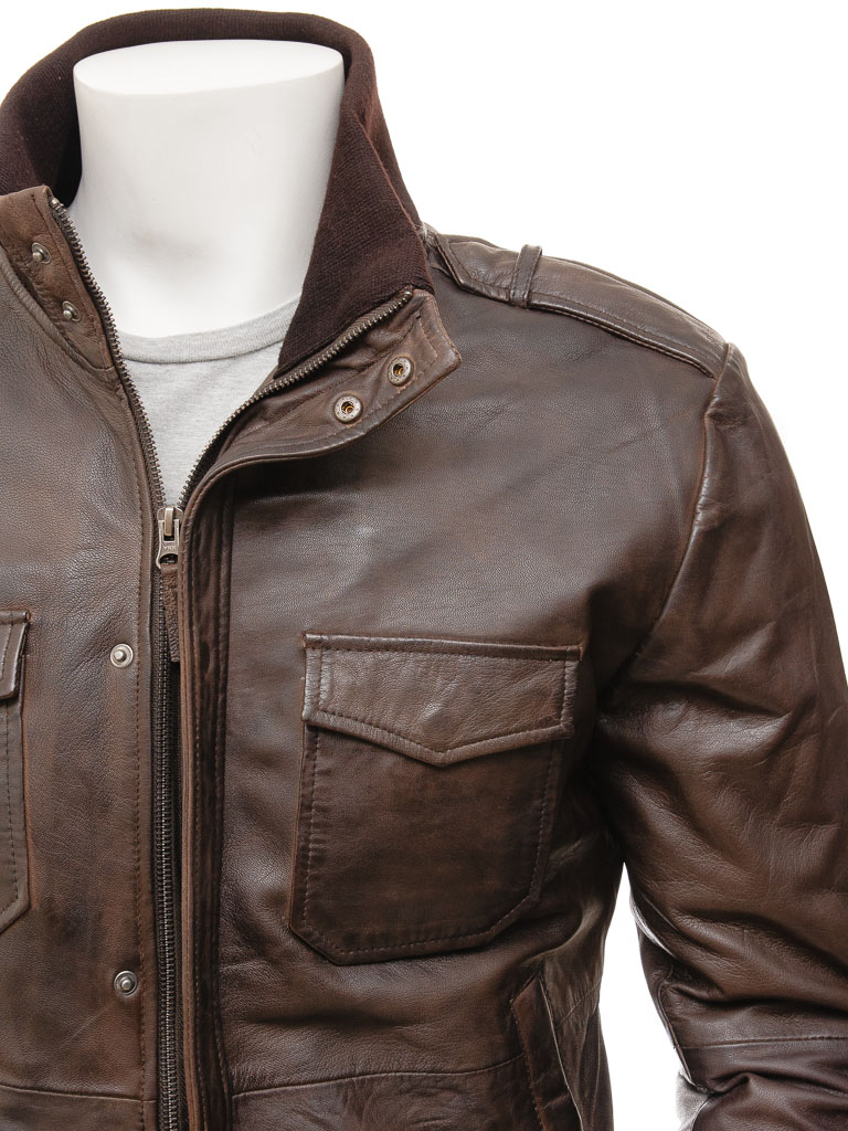 Men S Brown Leather Bomber Jacket Belgrade Men Caine