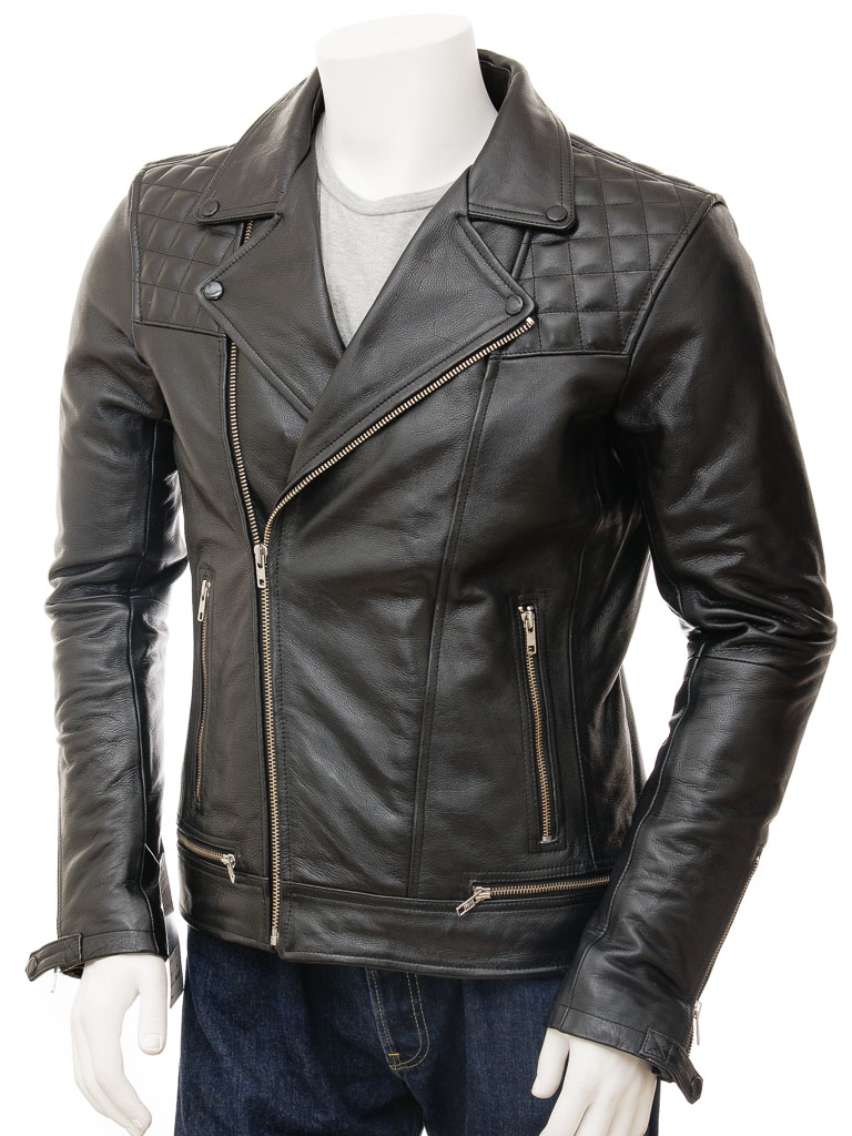 32a4fbd8bea00 Men's Leather Biker Jacket in Black: Berners :: MEN :: Caine