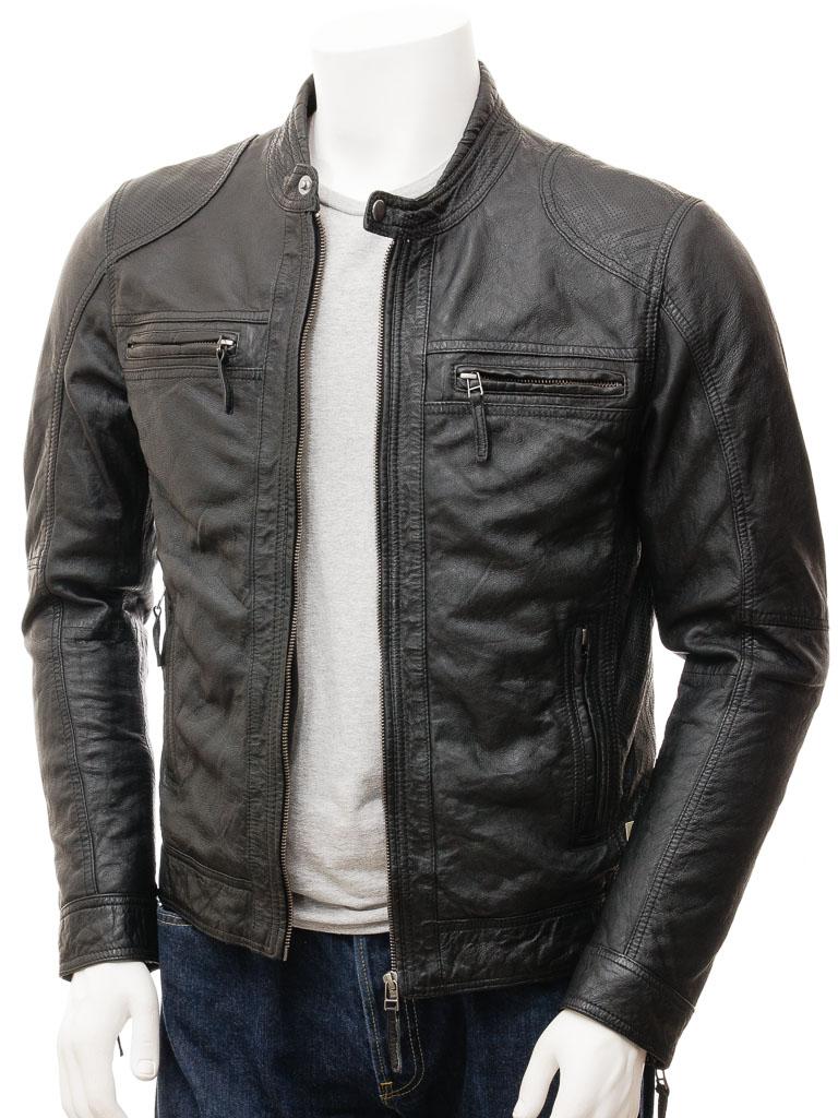 Men's Black Biker Leather Jacket: Branscombe :: MEN :: Caine