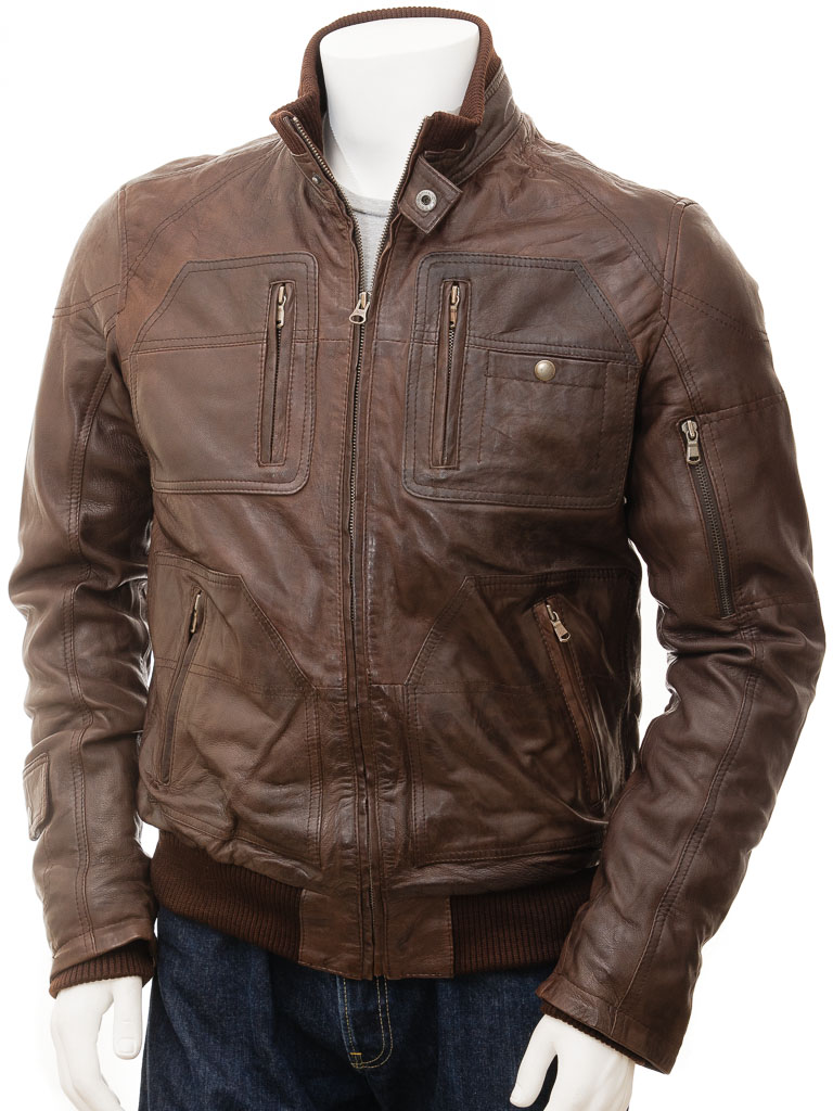 10905768a Men's Leather Bomber Jacket in Brown: Bristol