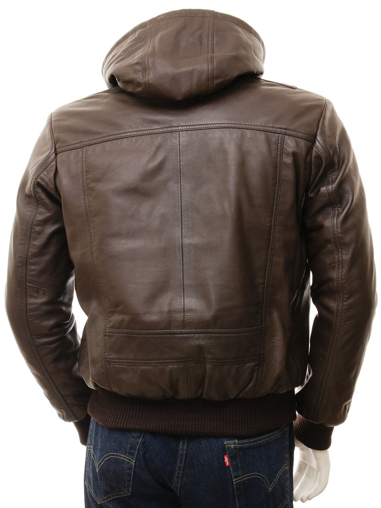 Men's Brown Leather Hoodie Jacket: Chelfham :: MEN :: Caine