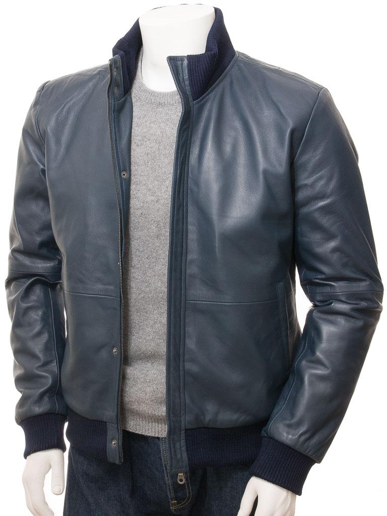 797253a0 Men's Blue Leather Bomber Jacket: Cheriton