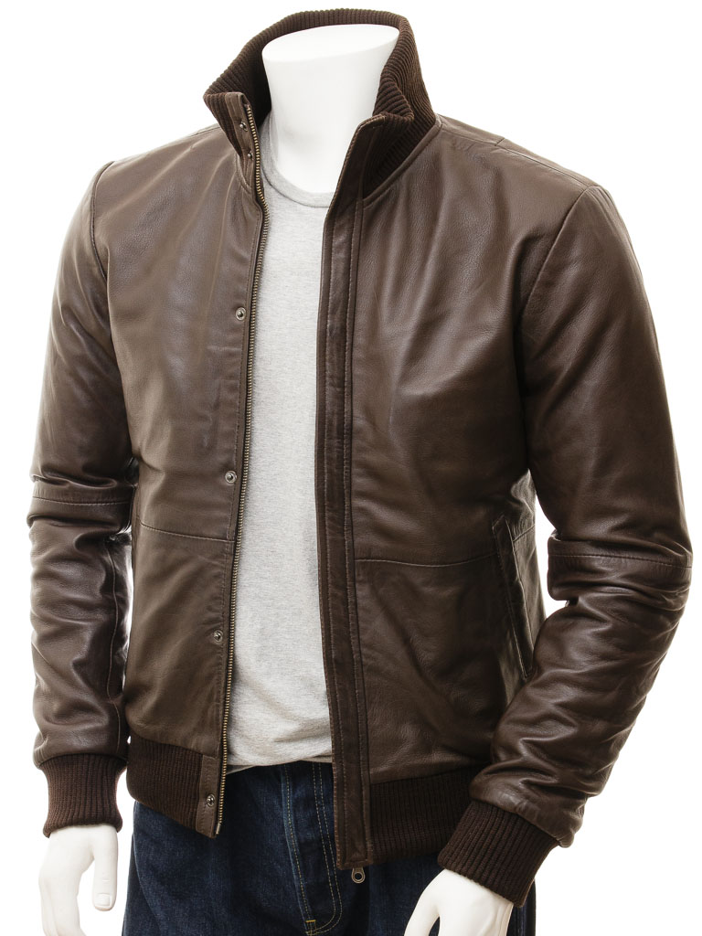 Men's Brown Bomber Leather Jacket: Cheriton :: MEN :: Caine