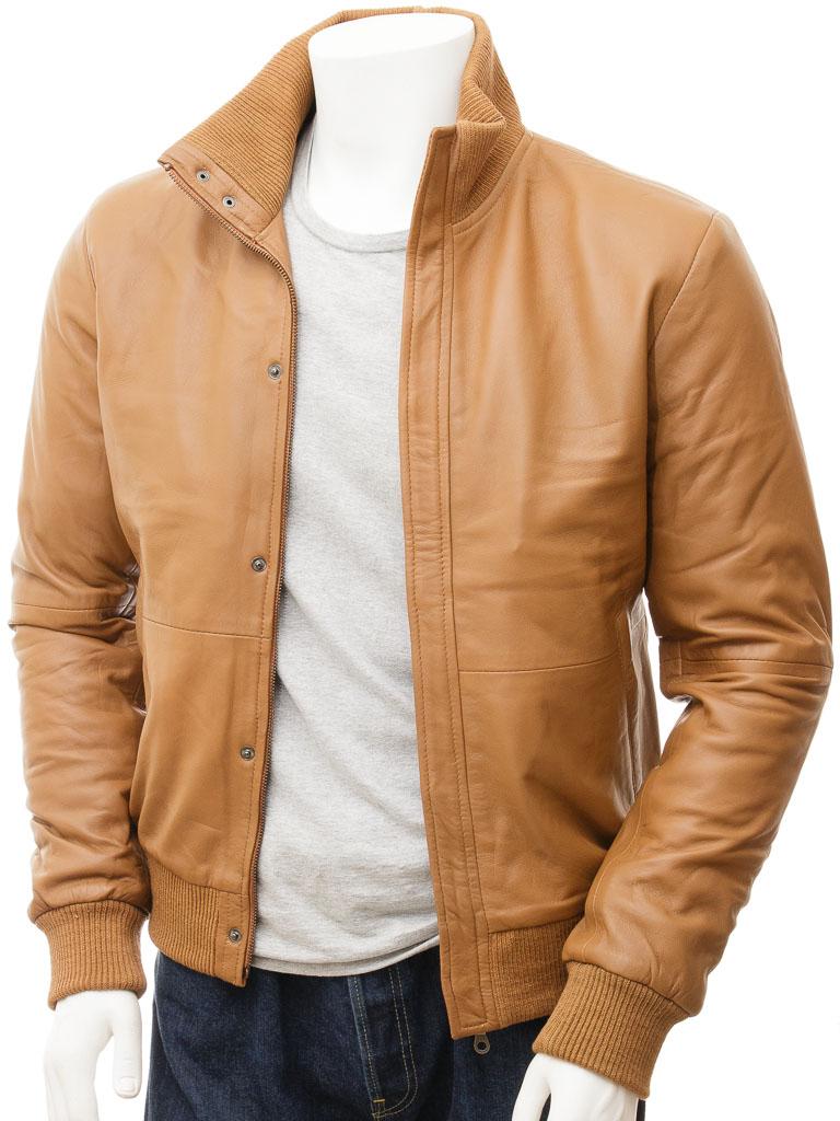 Men S Tan Leather Bomber Jacket Cheriton Men Caine