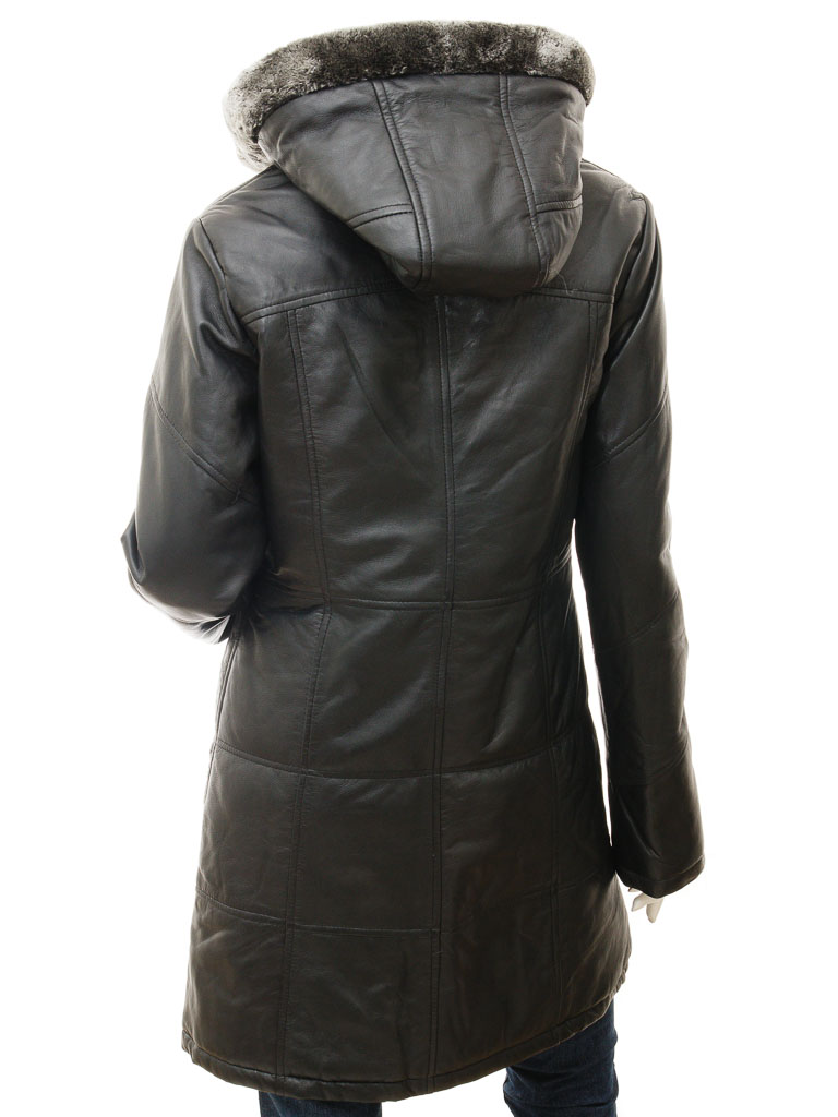 Women s Black Leather Quilted Parka  Claiborne    WOMEN    Caine fa27a826fc