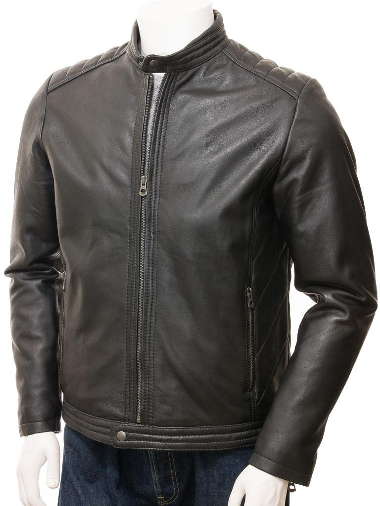 e8404f80c70 Men s Black Leather Jacket  Jacobstowe    MEN    Caine