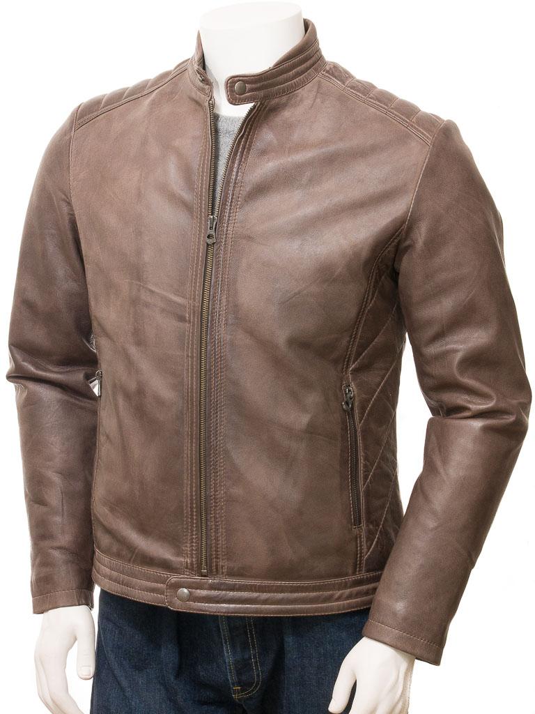 2b779687116 Men s Brown Leather Jacket  Jacobstowe    MEN    Caine