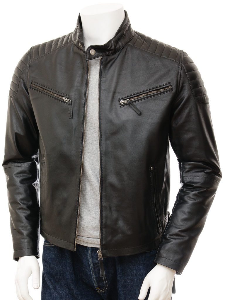 a8a1a5e2ac Men s Black Leather Biker Jacket  Maikop    MEN    Caine