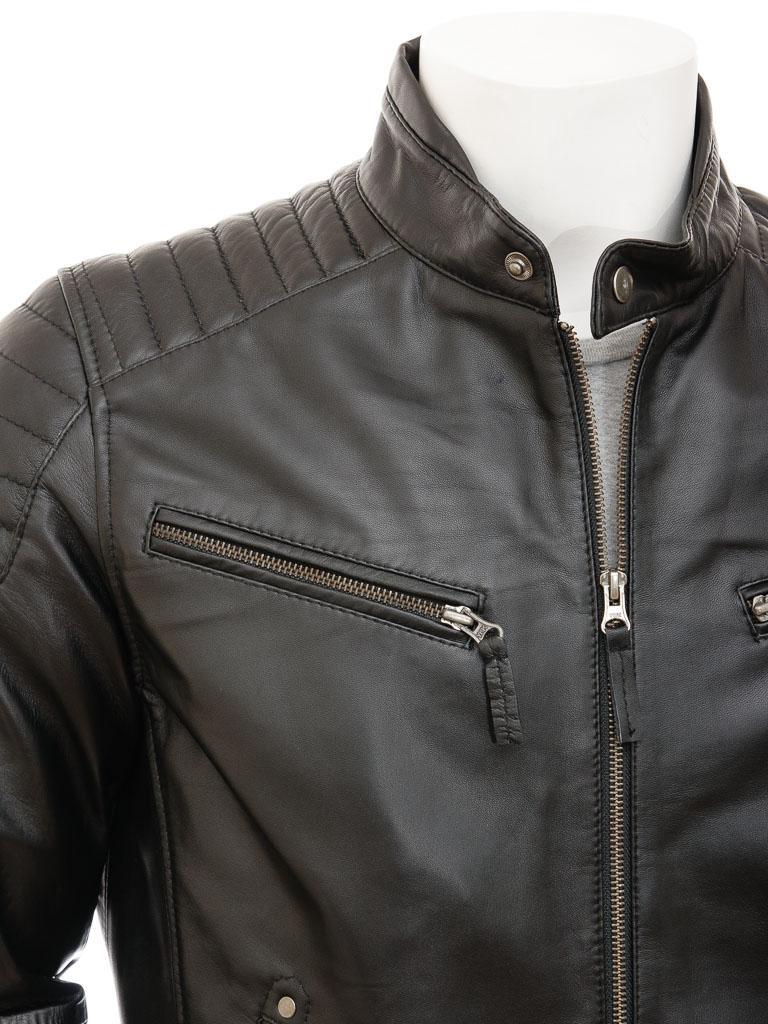 Men S Black Leather Biker Jacket Maikop Men Caine