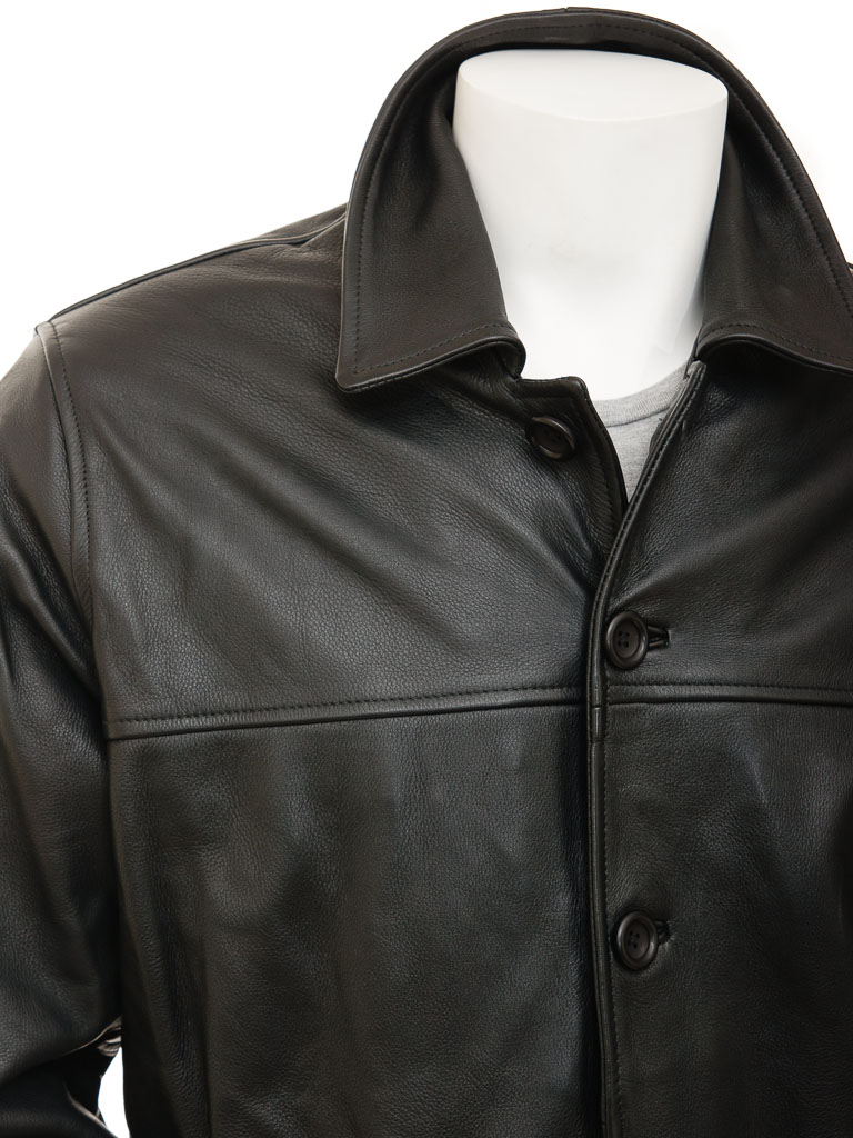Mens Black Leather Reefer Jacket Mostoles Men Caine
