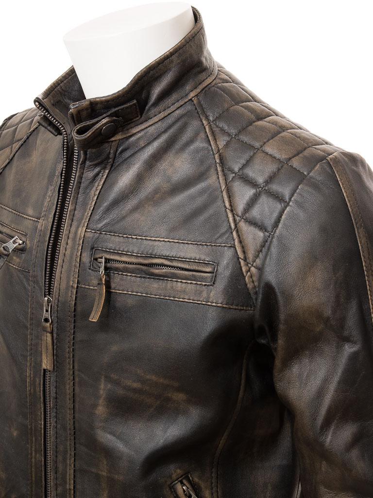 Men S Vintage Leather Biker Jacket Sibiu Men Caine