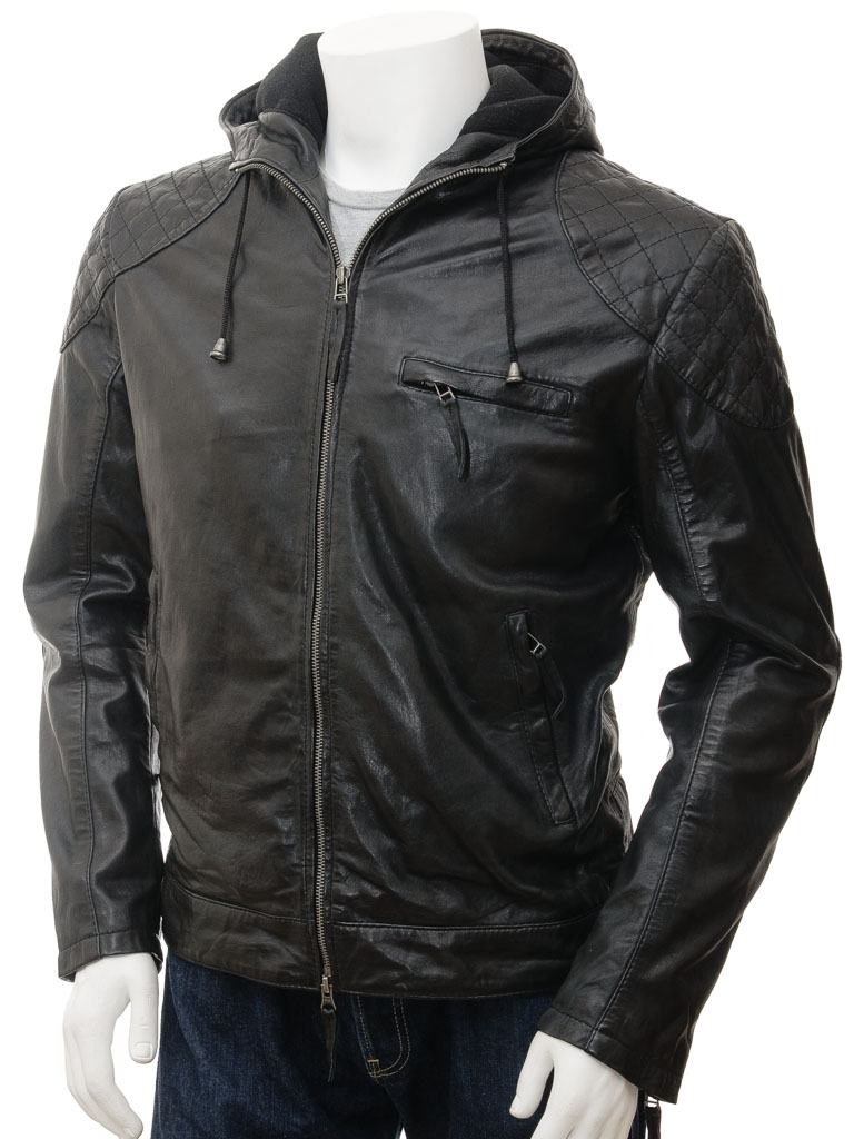 Men's Black Hooded Leather Jacket: Aller :: MEN :: Caine