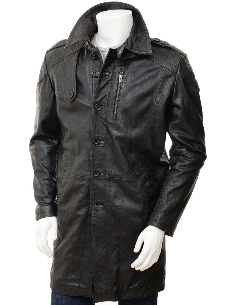 Mens Black Leather Trench Coat: Battledown :: MEN :: Caine