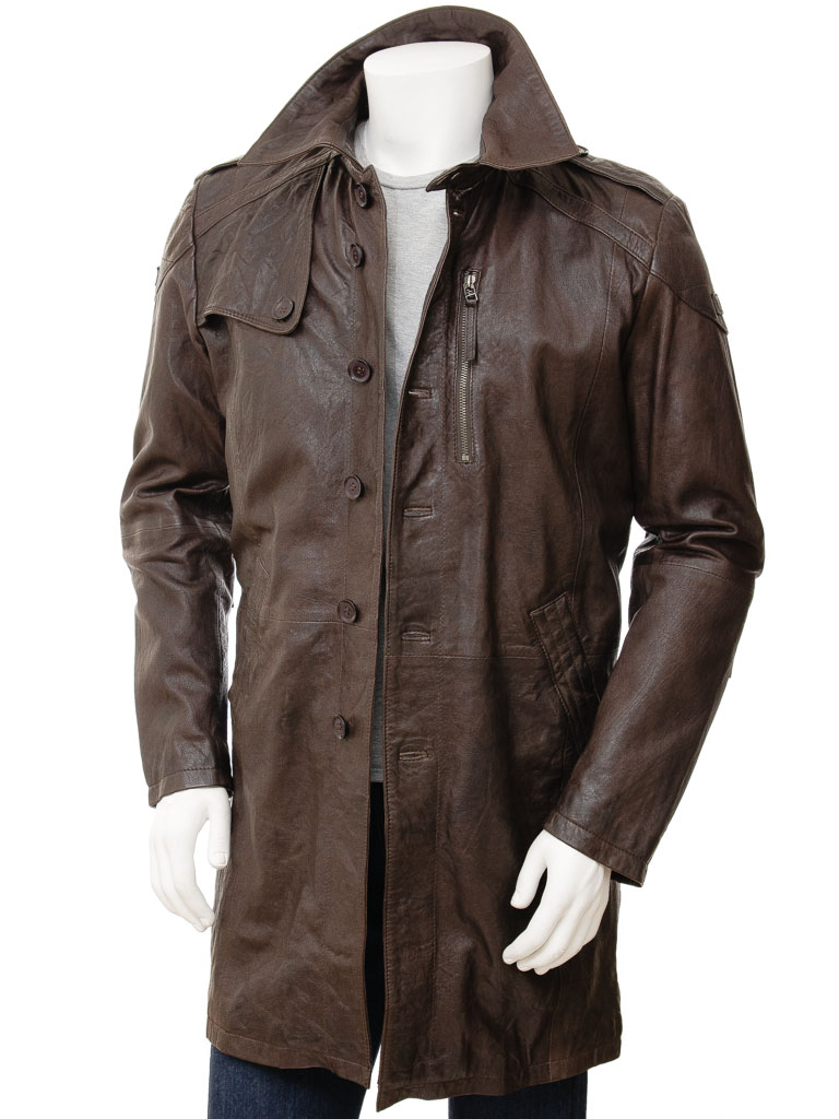 Mens Brown Leather Trench Coat Battledown Men Caine