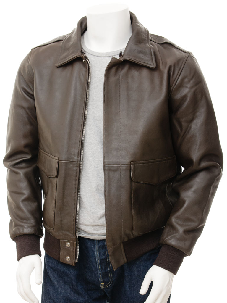 Mens Leather Flight Jacket in Brown  Bolberry    MEN    Caine 664600d954c