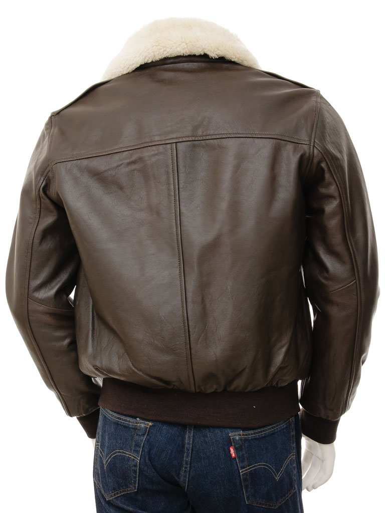 a06cc5856d1 Mens Leather Flight Jacket in Brown  Bolberry    MEN    Caine