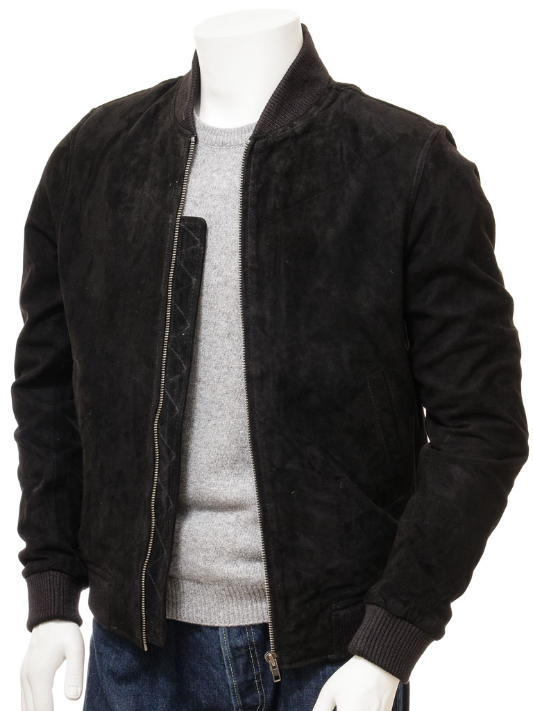 b8a249c08c Men s Black Suede Bomber Jacket  Bradstone    MEN    Caine