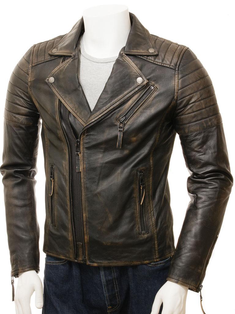 Vintage Leather Jacket >> Men S Vintage Leather Biker Jacket Buckerell