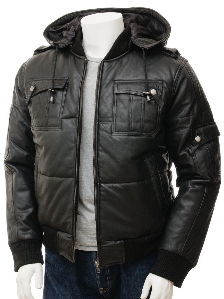 Men's Black Bomber Leather Jacket: Buckland :: MEN :: Caine