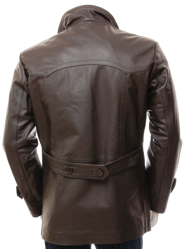 Men's Brown Leather Peacoat: Bursdon :: MEN :: Caine
