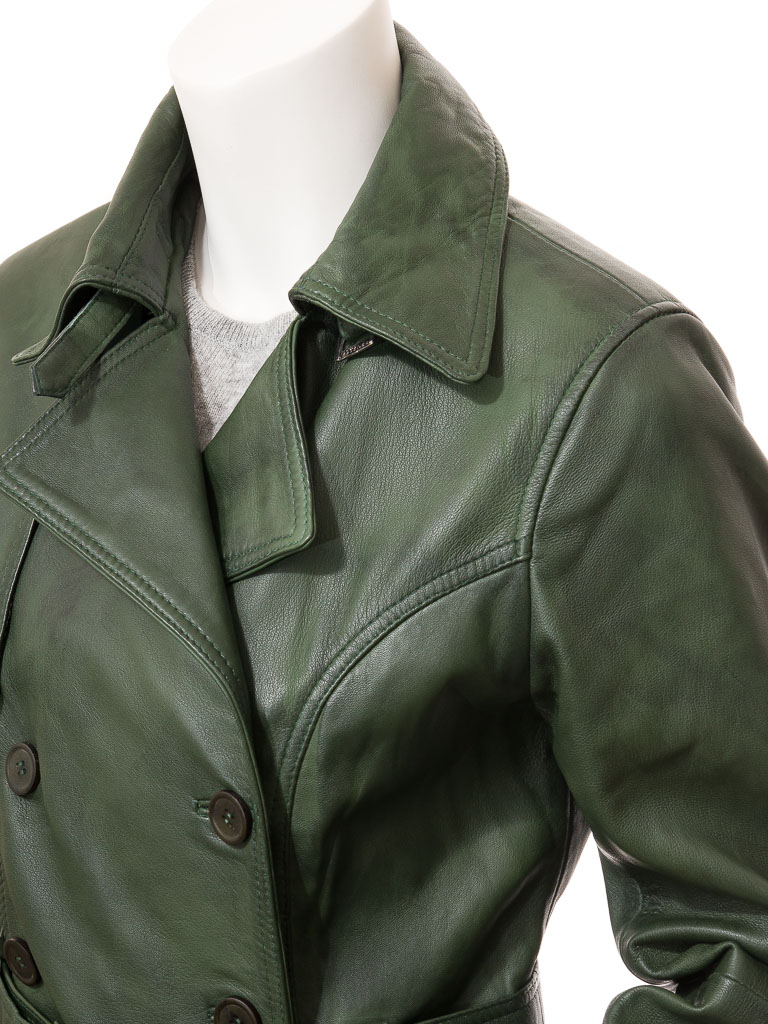 bb993c3bb8a Womens Green Leather Trench Coat: Columbia :: WOMEN :: Caine