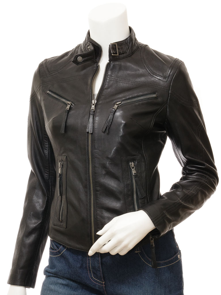 Women S Black Leather Biker Jacket Corinth Women Caine