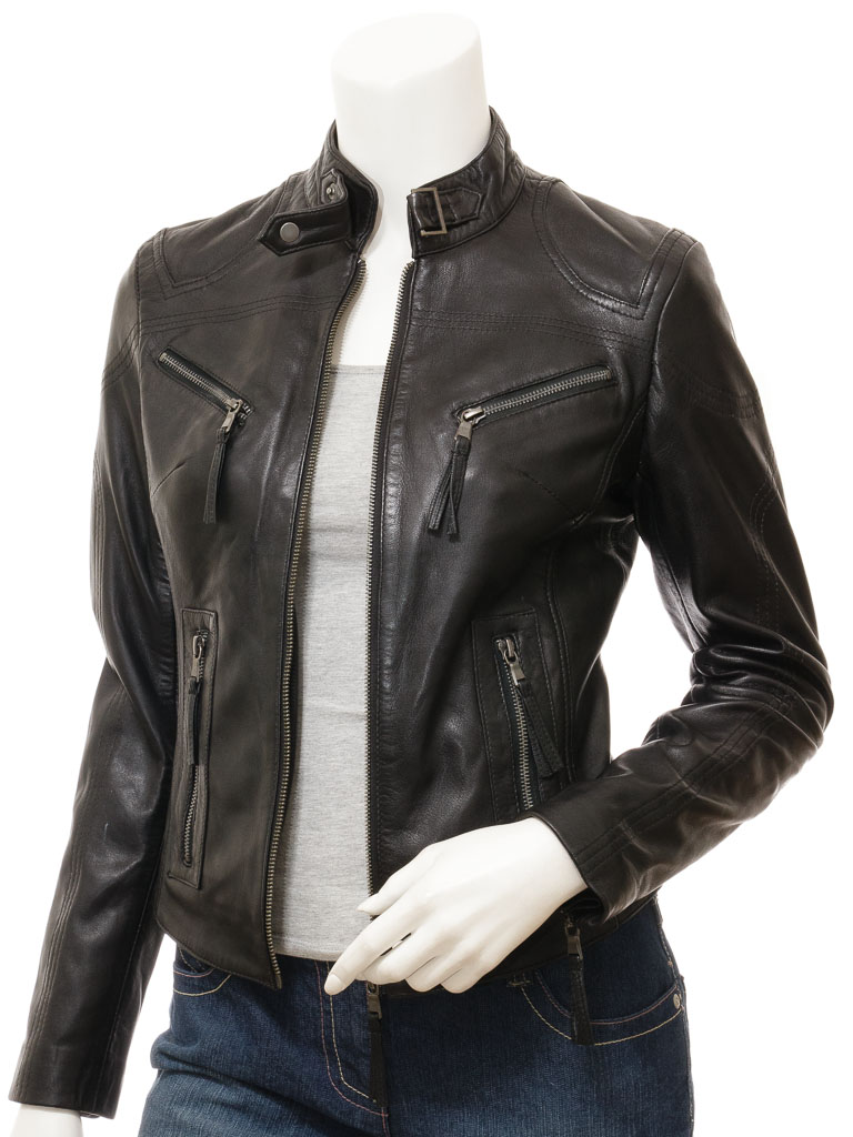 074d62b80 Women's Black Leather Biker Jacket: Corinth